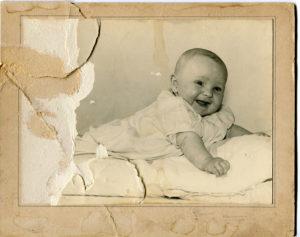 altes Bild, schwarz-weiß Bild, Baby
